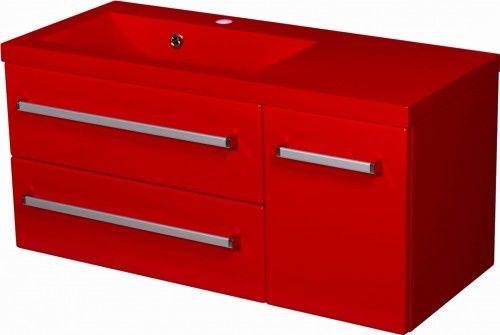 Szafka łazienkowa czerwona 90cm z czerwoną umywalką dolomitową Clever 90x39cm, Styl Nowoczesny, FOKUS Gante