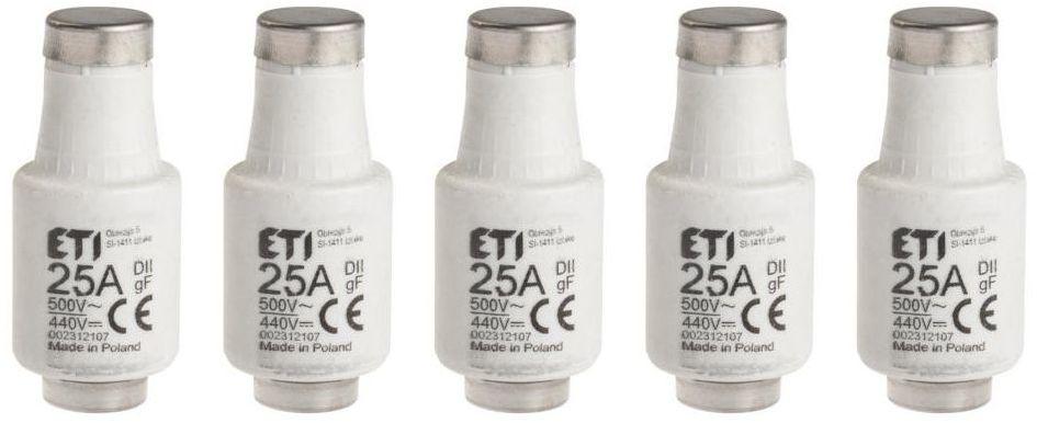 Wkładka topikowa D II GF 25 A 500V/440V 5szt. ETI