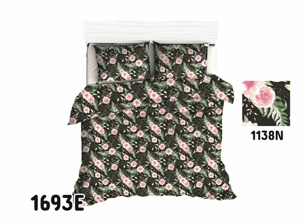 Pościel bawełniana 140x200 1693E czarna różyczki różowe liście 1136N