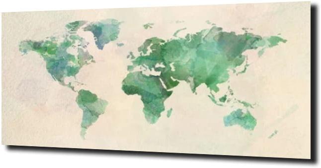 obraz na szkle Mapa świata zielona