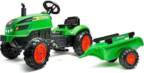 Falk 2048AB Tracteur à pédales X Tractor vert avec capot ouvrant et remorque inclus Traktoren, zielony