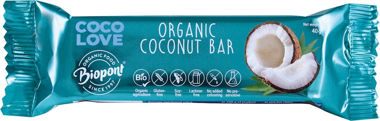 Baton kokosowy bezglutenowy bio 40 g - biopont