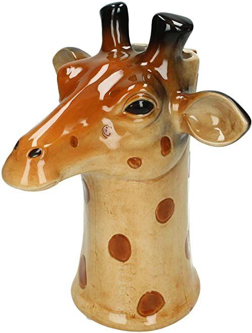Wazon żyrafa - drobna kamionka - brązowy - 19x20x24cm