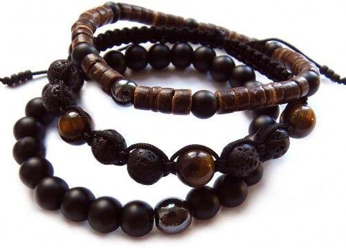 Zestaw męskich bransoletek dla niego - kamienie, kokos 8138 [sz8]