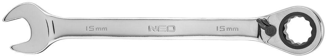 Klucz płasko-oczkowy z grzechotką i przełącznikiem 15 mm