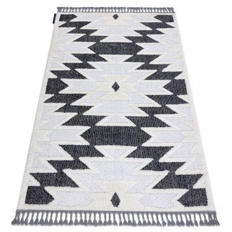 Dywan MAROC H5157 Aztec, etno biały / czarny Frędzle berberyjski marokański shaggy 80x150 cm