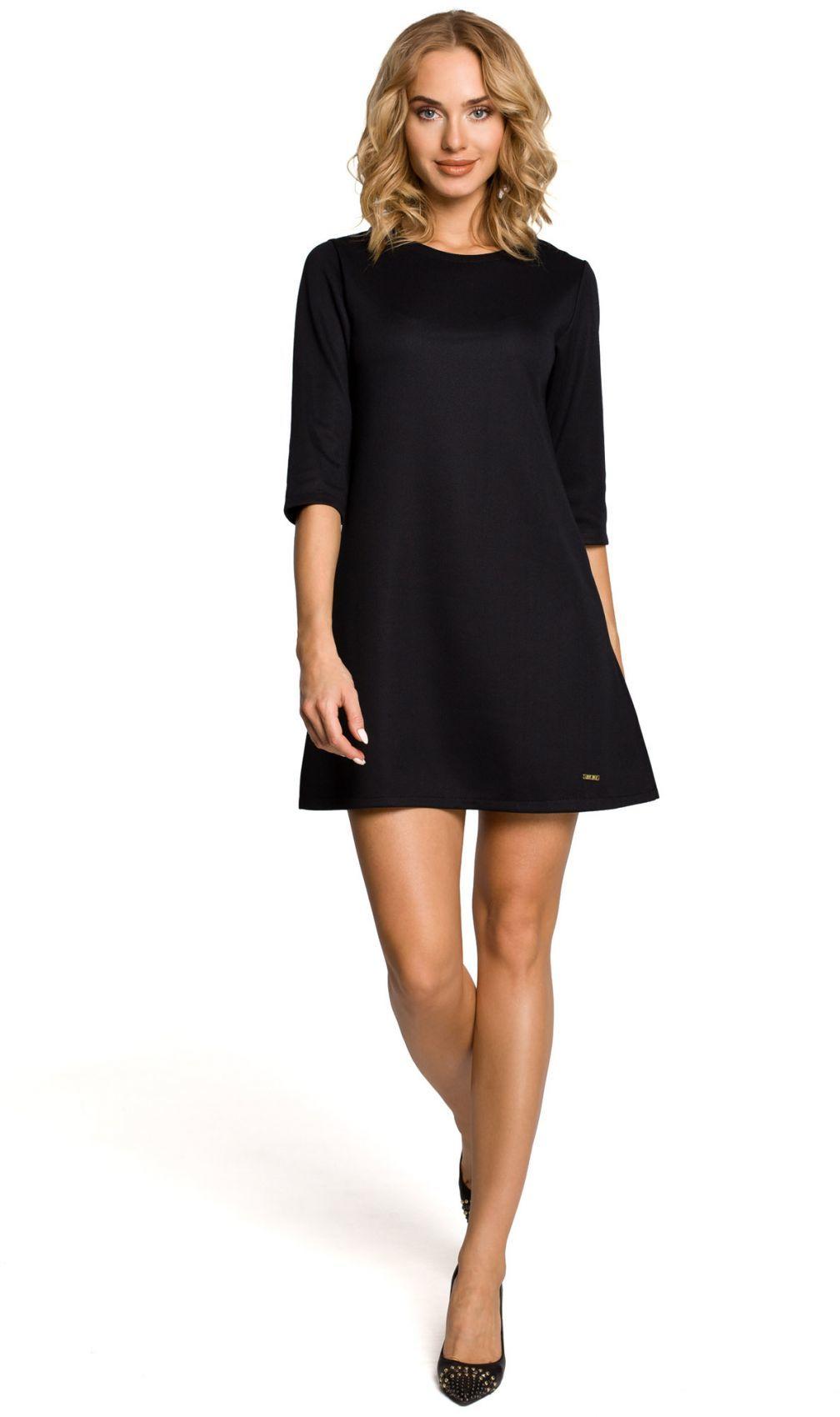 M029 Gładka tunika sukienka trapezowa - czarna