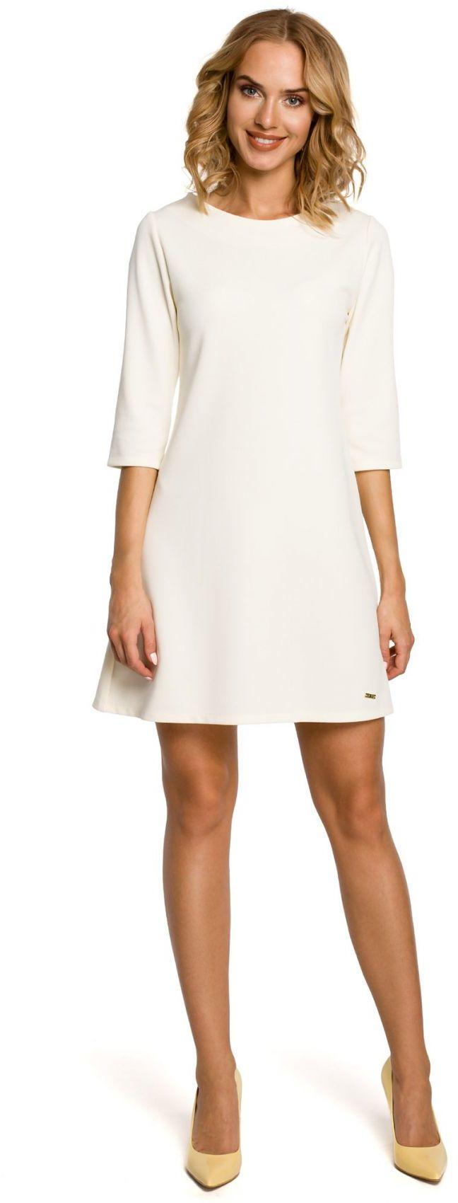 M029 Gładka tunika sukienka trapezowa - ecru