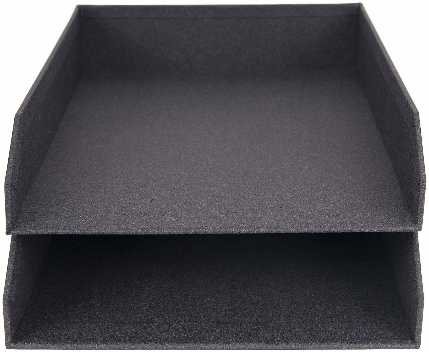 Bigso Box of Sweden Zestaw 2 półek na listy na biurko  możliwość układania w stos półek na listy, dokumenty itd.  system porządkowania z płyty pilśniowej o wyglądzie lnu  czarny