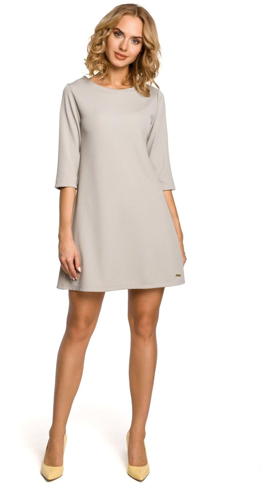 M029 Gładka tunika sukienka trapezowa - szara