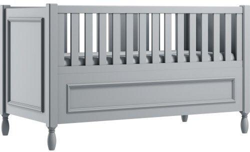 Grafitowe eleganckie łóżeczko dziecięce z ozdobnymi nóżkami i frezowaną ramką