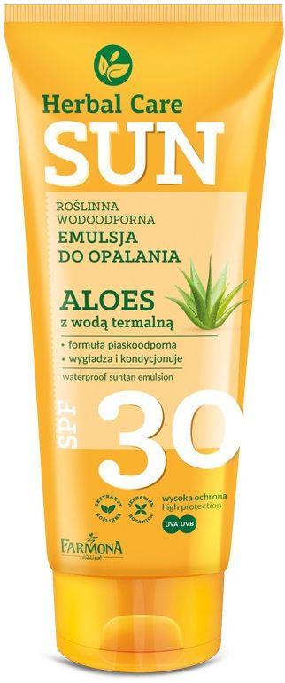 HERBAL CARE Sun SPF 30 Roślinna wodoodporna emulsja do opalania ALOES z wodą termalną 150ml