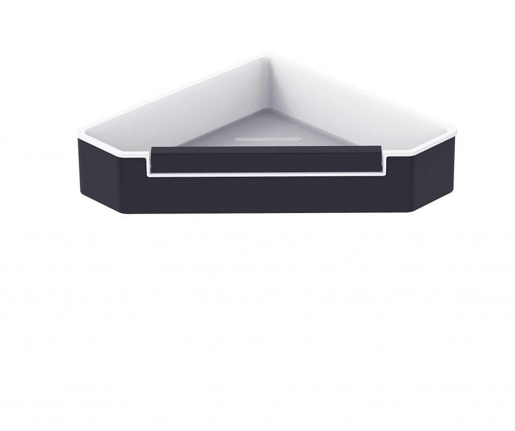 Stella koszyk narożny z wycieraczką, wkład z tworzywa biały 16.070-B czarny mat