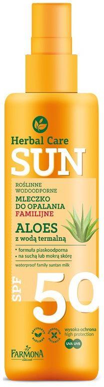 HERBAL CARE Sun SPF 50 Roślinne wodoodporne mleczko do opalania familijne ALOES z wodą termalną 200ml