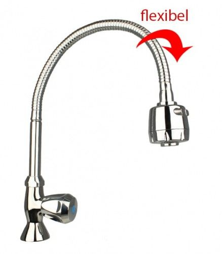 Bateria do zimnej wody obrotowa, elastyczna wylewka kaptur prysznic, chrom