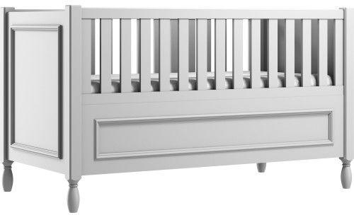 Szare eleganckie łóżeczko dziecięce z ozdobnymi nóżkami i frezowaną ramką