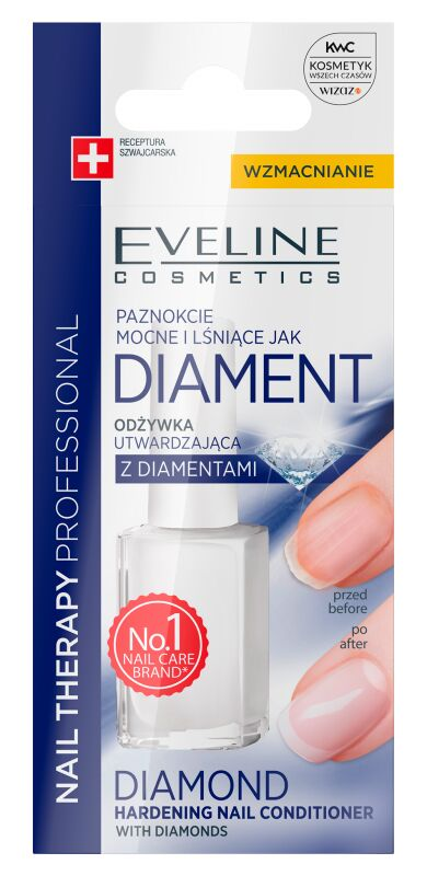 Eveline Cosmetics - NAIL THERAPY PROFFESSIONAL - Diamond Hardening Nail Conditioner - Utwardzająca odżywka do paznokci z diamentami