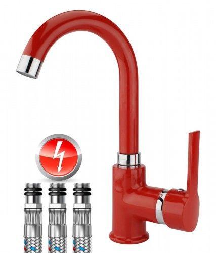Bateria bezciśnieniowa trójdrożna do podgrzewaczy wody ,obrotowa 360 , czerwony