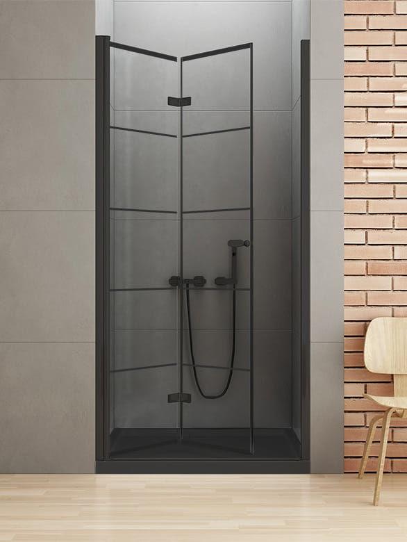 New Trendy New Soleo Black drzwi składane 90 cm lewe, wys. 195 cm, szkło czyste 6 mm D-0283A