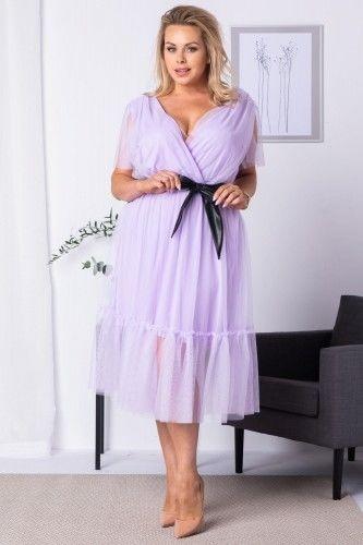 Sukienka tiulowa z falbanką i paskiem ASIA liliowa
