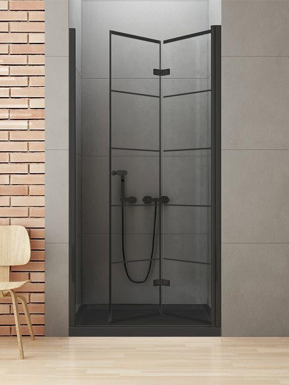 New Trendy New Soleo Black drzwi składane 90 cm prawe, wys. 195 cm, szkło czyste 6 mm D-0284A