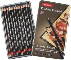 Barwiony Węgiel W Kredce Derwent Tinted Charcoal 12 szt.