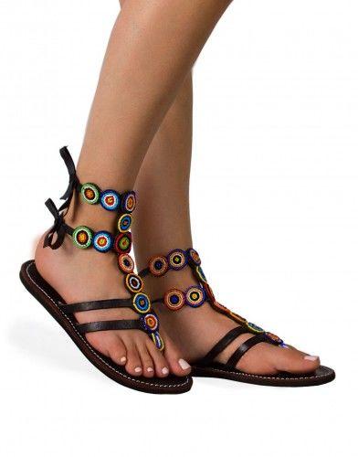 Gladiatorki ze skóry sandały w stylu boho