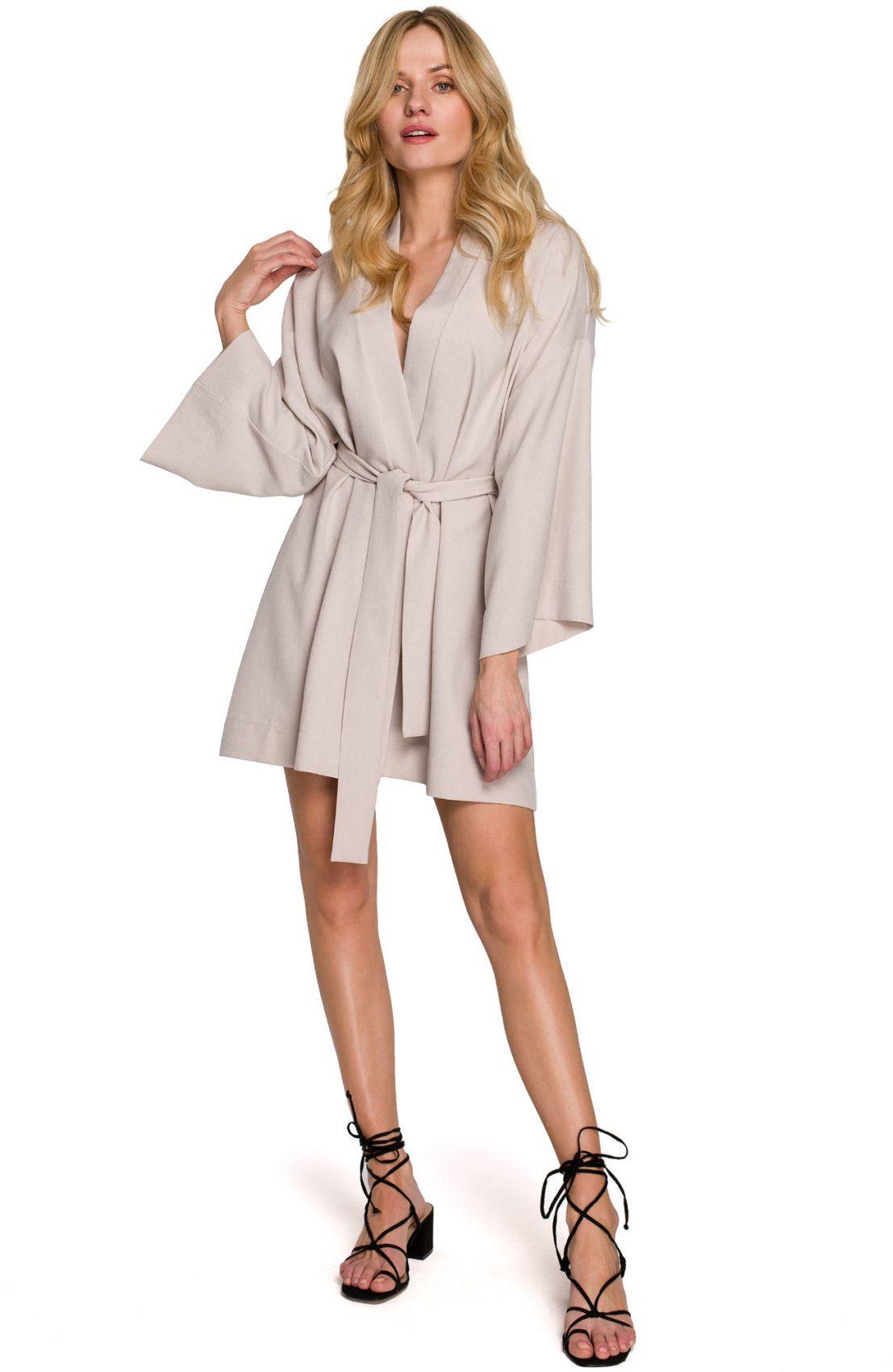K101 Sukienka kimono z paskiem - beżowa