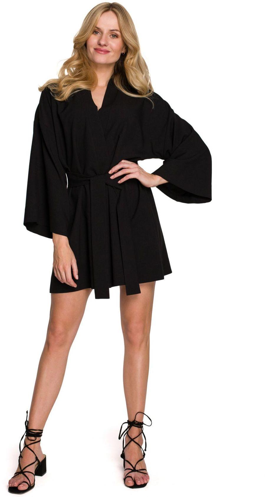 K101 Sukienka kimono z paskiem - czarna