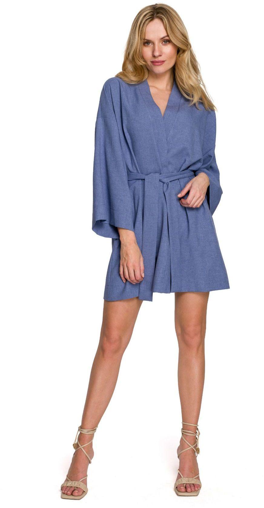 K101 Sukienka kimono z paskiem - niebieska