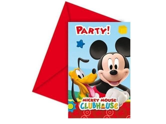 Zaproszenia urodzinowe Myszka Mickey - 6 szt.