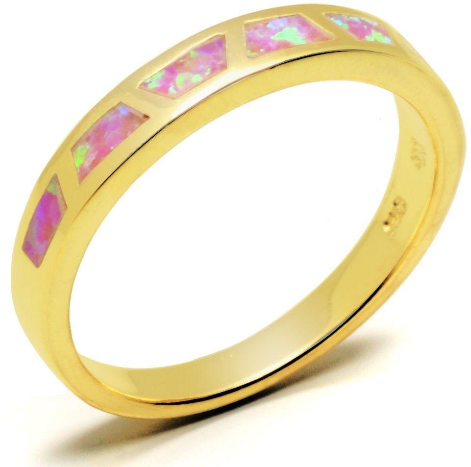 Srebrna Obrączka Pokryta Złotem z Opalem