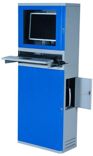 Metalowa płaska szafa na komputer z monitorem