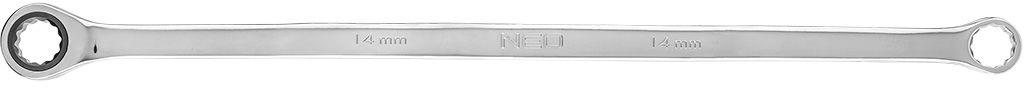 Klucz oczkowy dwustronny z grzechotką, długi 14 mm