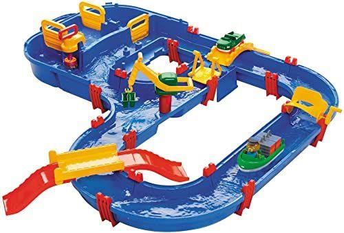 Aquaplay 870001528 Megabridge Water Play, kolorowy stół do zabawy w wodzie z systemem kanału roboczego, dźwignia podnosząca, mosty, łódź i zabawka samochodowa, odpowiedni dla dzieci w wieku od 3 lat