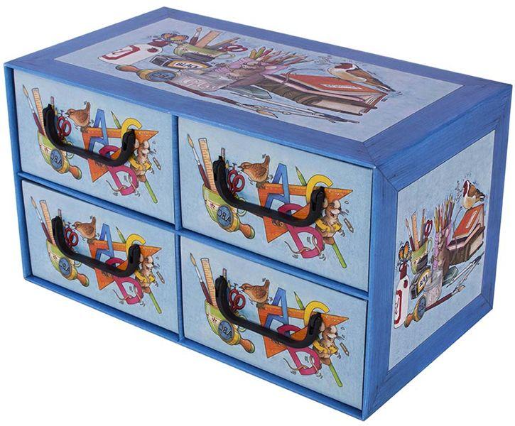 Pudełko kartonowe 4 szuflady poziome SZKOŁA ALFABET