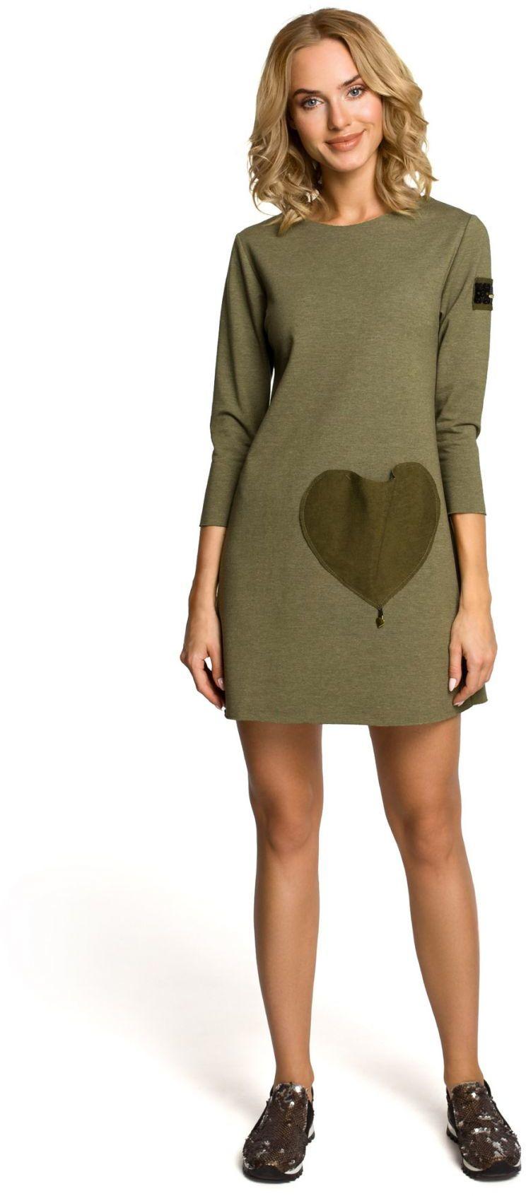 M053 Mini sukienka - tunika z dzianiny - khaki