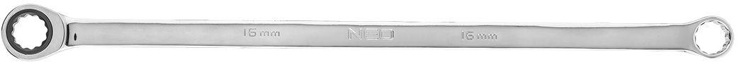 Klucz oczkowy dwustronny z grzechotką, długi 16 mm