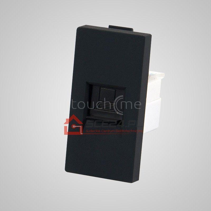Moduł 1/2, gniazdo komputerowe RJ45, czarne