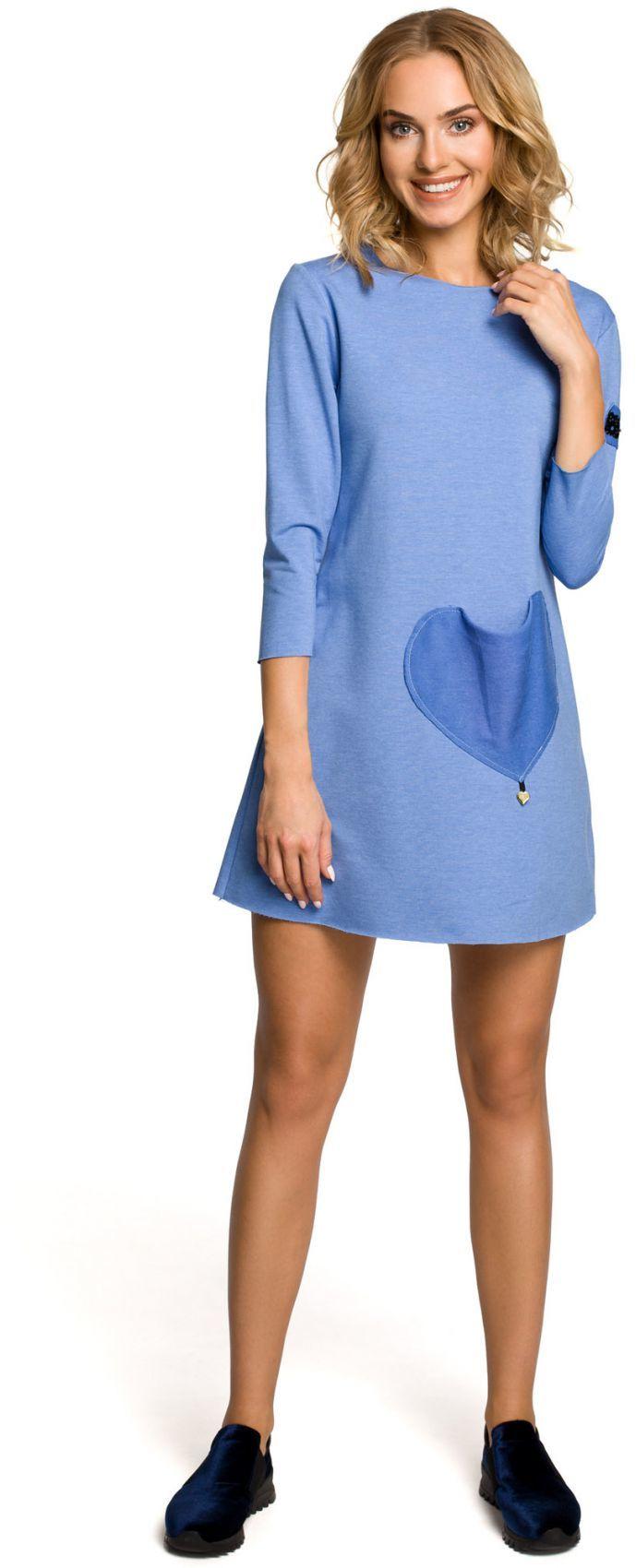 M053 Mini sukienka - tunika z dzianiny - niebieska