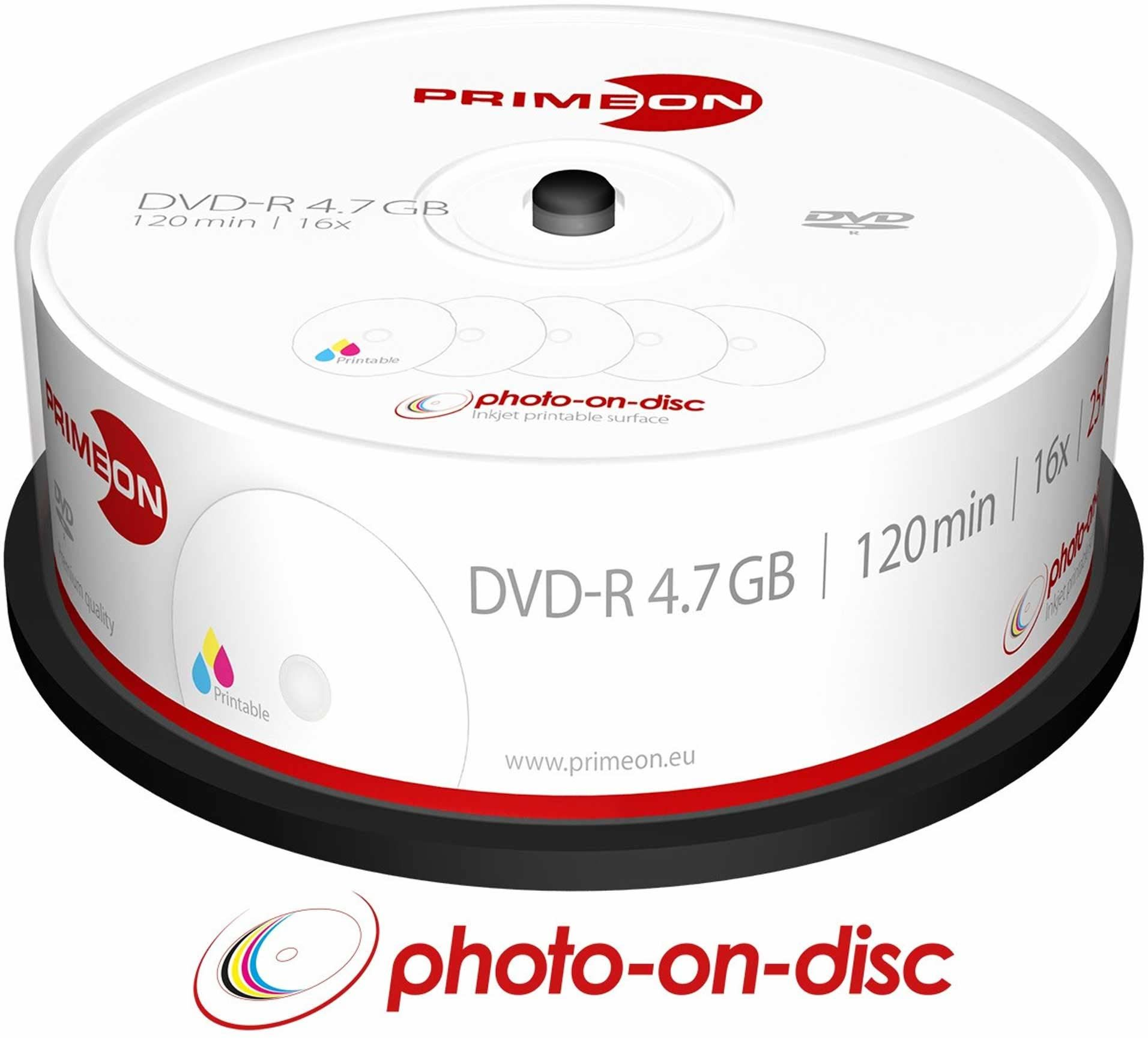 Primeon DVD-R 4,7 GB/120 min/16 x pudełko na kanapki, foto-on-disc, Inkjet Full Size Printable Surface (25 płyt)