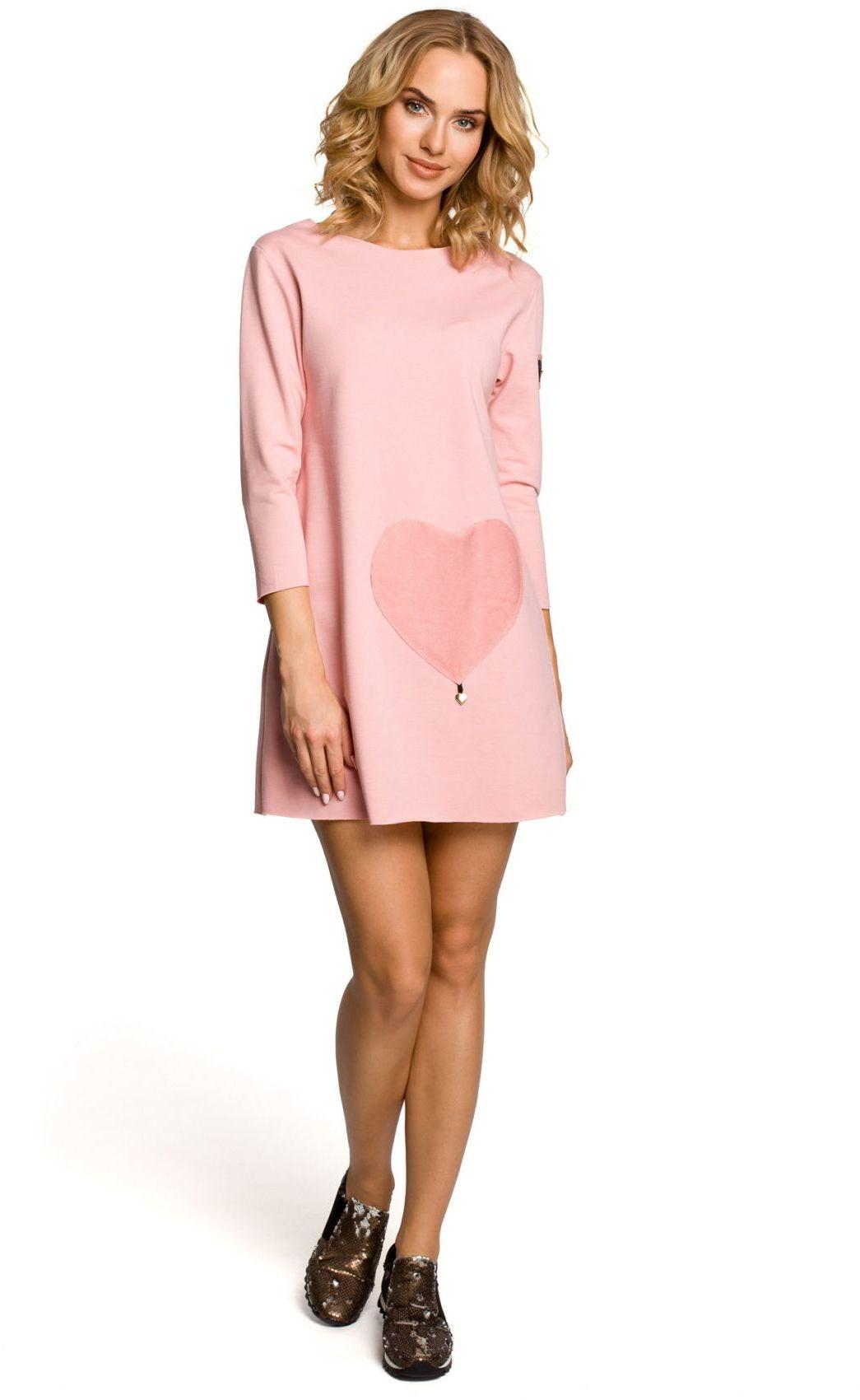 M053 Mini sukienka - tunika z dzianiny - różowa