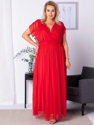 Sukienka na wesele długa tiulowa MANUELA czerwona