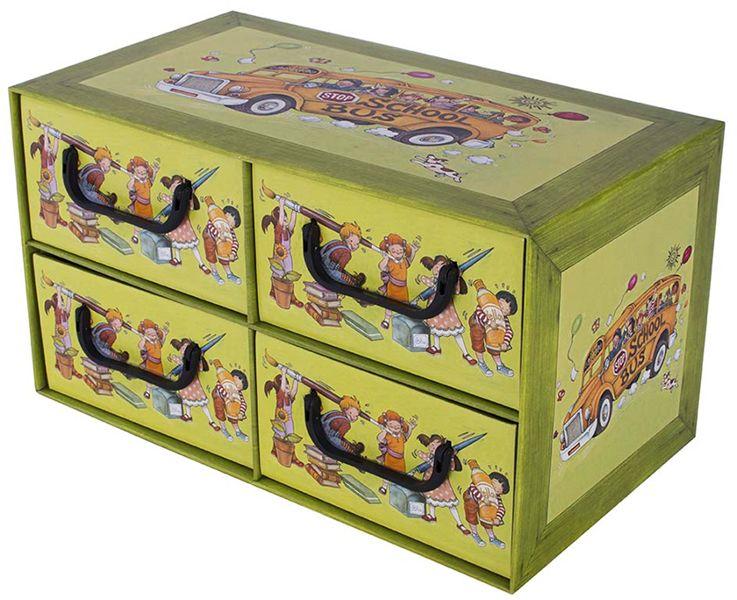 Pudełko kartonowe 4 szuflady poziome SZKOŁA DZIECI