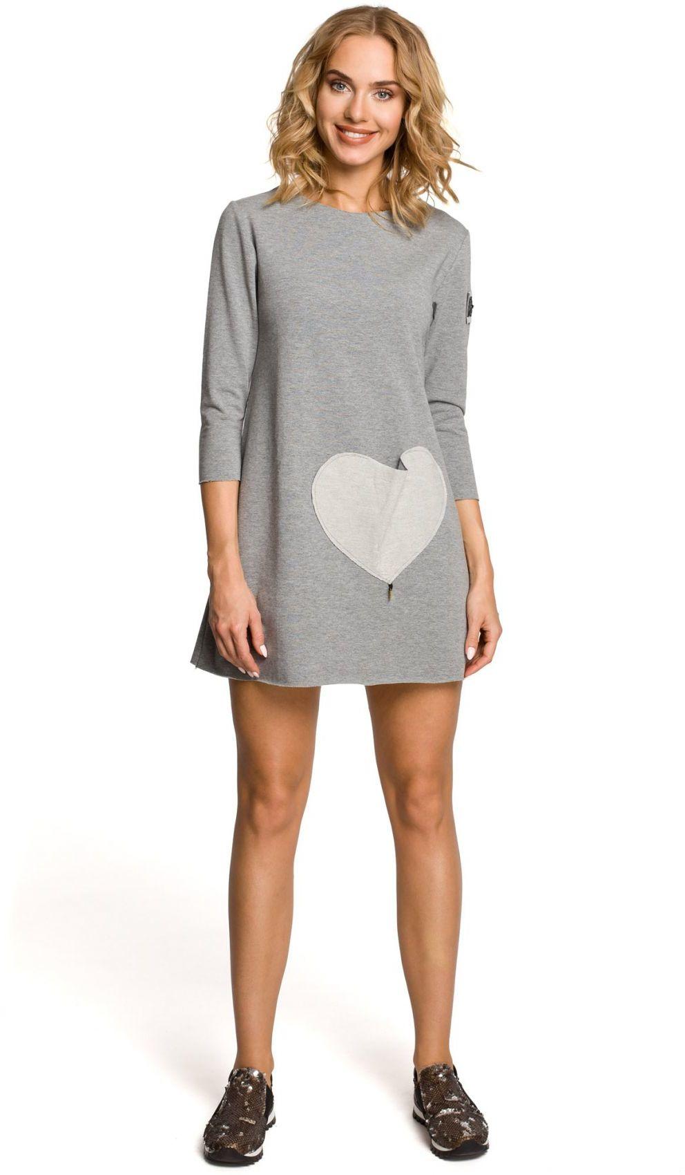 M053 Mini sukienka - tunika z dzianiny - szara