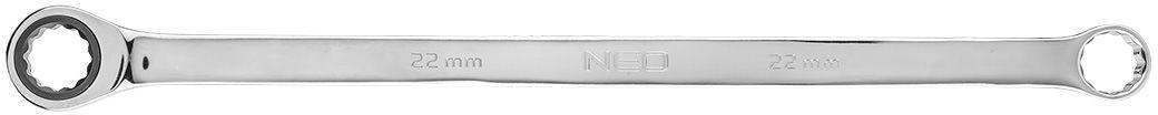 Klucz oczkowy dwustronny z grzechotką, długi 22 mm