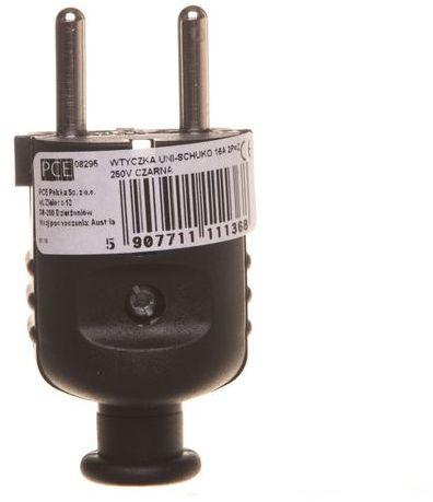 Wtyczka prosta 10/16A 2P+Z UNI-SCHUKO IP20 czarna 08295