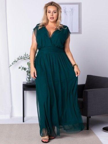 Sukienka tiulowa długa plus size MANUELA butelkowa zieleń