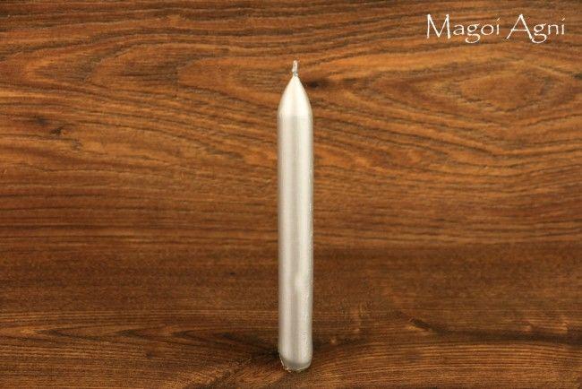 Świeca z wosku 16x1,5cm - srebrna