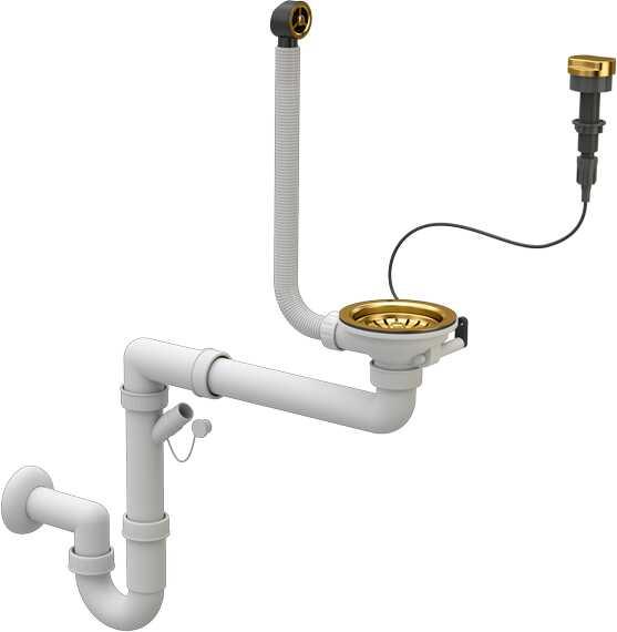 Syfon Zlewozmywakowy ZŁOTY Przyścienny Automatyczny 1 komorowy